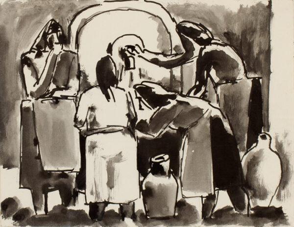 HERMAN Josef (1911-2000) - Women at the well.