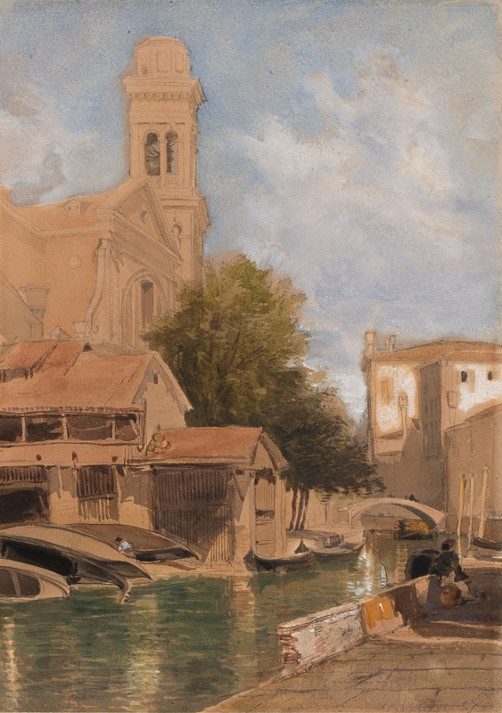 HOLLAND James (1800-1870) - The boatyard of San Trovaso, Venice.
