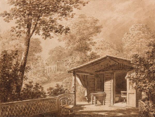 ISABEY Jean-Baptiste (1767-1855) - 'Ma chaumiere dans mon petit jardin a Sevres'.