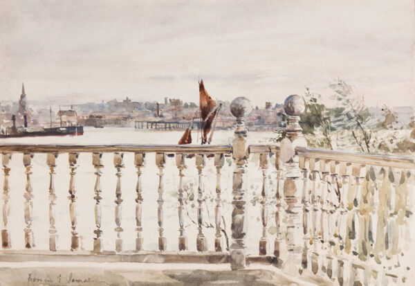 JAMES Francis Edward R.W.S. N.E.A.C. (1849-1920) - London; view from the artist's Chelsea balcony.