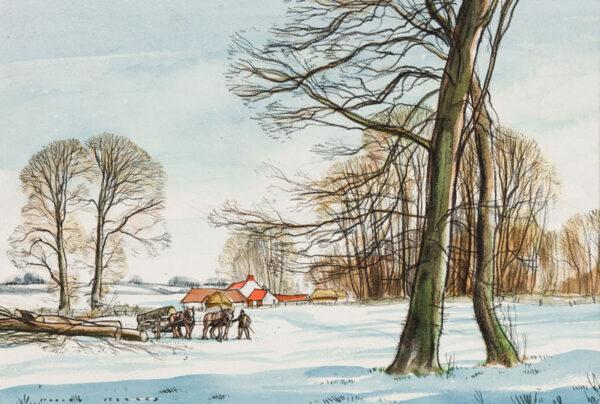 JEZZARD Stanley (1911-1983) - Somerset; 'Felling trees near Cossington'.