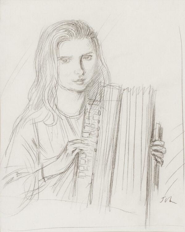 JOHN Augustus O.M. R.A. (1878-1961) - 'Dorelia: the girl with the accordion'.