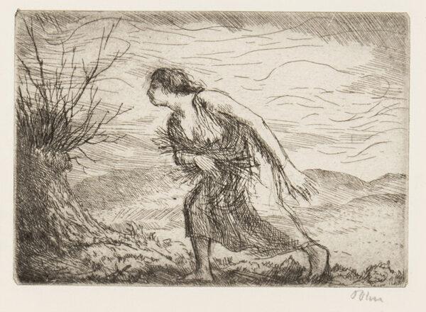 JOHN Augustus O.M. R.A. (1878-1961) - 'Woman gathering sticks' (CD.