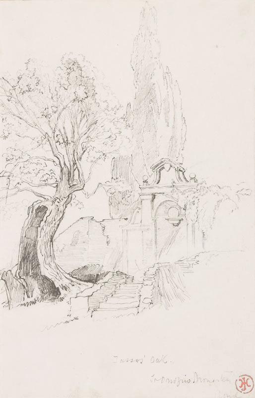 JOHNSON Harry John R.I. (1826-1884) - 'Tasso's Oak, St Onofrio Monastery, Rome'.