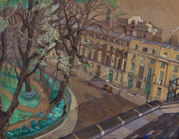 JOLIFFE Margaret (flourished 1925-1955) - 'Looking down on Mecklenburgh Square'.