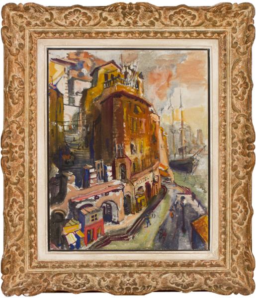 JOSEPHERITSCH Karl (Mid-Twentieth Century) - Genoa; a steep quayside scalinata before the Front was ruined by the motorways.