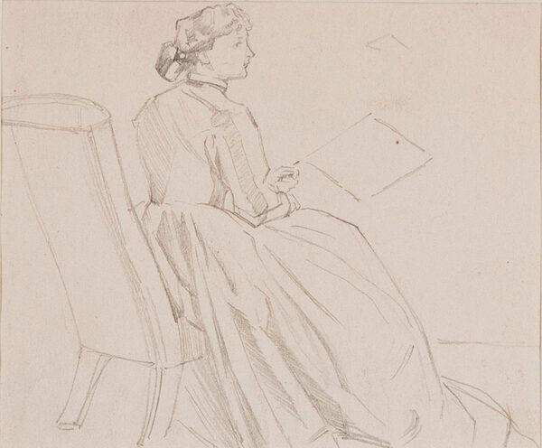 KEENE Charles (1823-1891) - Study of a seated woman II.