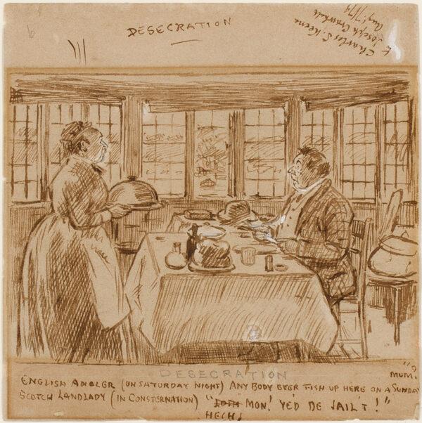 KEENE Charles (1823-1891) - 'Desecration': English angler upsetting Scotch landlady.