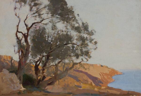 KERR-LAWSON James (1862-1939) - Liguria: olive trees above the sea.