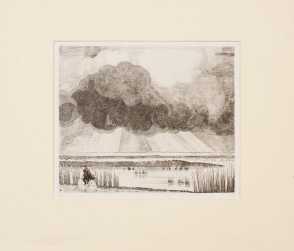 LABOUREUR Jean Emile (1877-1943) - 'Paysage au cycliste' Engraving.