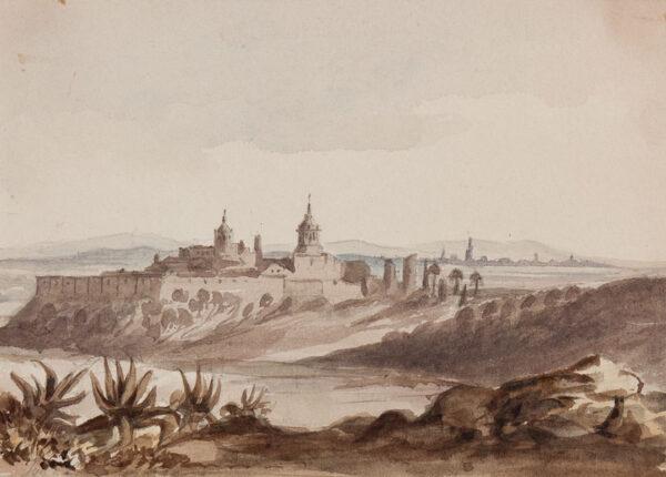 CRICHTON-STUART Lady James (Nee Hannah Tighe) (1800-1872) - 'Convent near Stalica – Seville in the distance, Jan 4'.