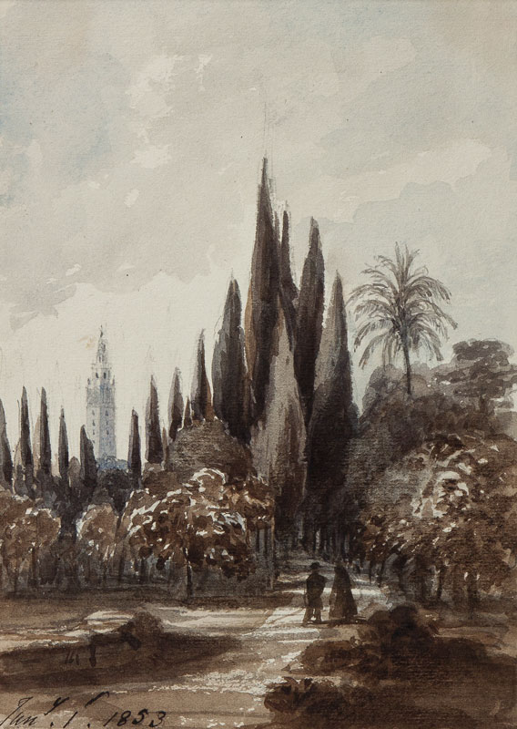 CRICHTON-STUART Lady James (Nee Hannah Tighe) (1800-1872) - 'Garden – Seville, Jan.