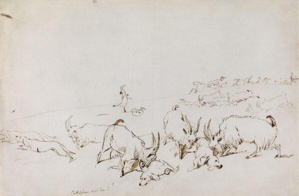 LANDSEER Sir Edwin Henry R.A. (1802-1873) - 'Chillingham Deer Hunt!'.
