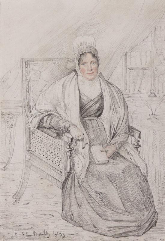 LE BAILLY C S (Exh. Paris Salon 1834-1839) - 'Mary Harford, Rippon Hall, Hevingham'; Mrs Truman Harford nee Biddle (1763-1839).