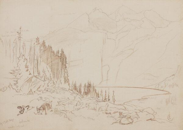 LEAR Edward (1812-1888) - Oeschinensee, Switzerland.