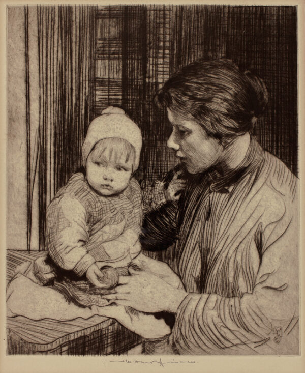 LEE-HANKEY William R.W.S. R.I. (1869-1952) - 'Mother and Child'.
