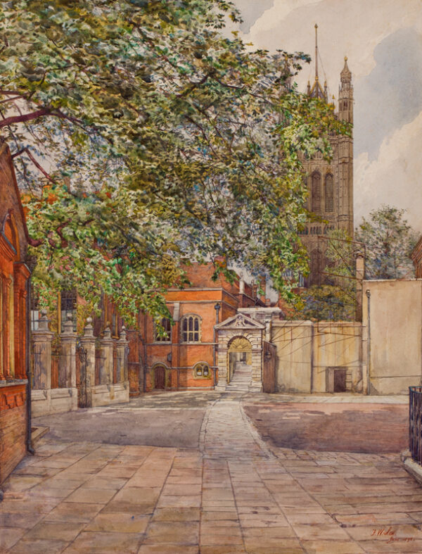 LEE Frederick Walter (1863-1948) - 'Yard, Westminster'; Little Dean's Yard.