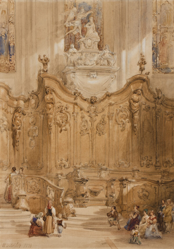 LEITCH William Leighton R.I. (1804-1883) - Barocco choir stalls beneath a splendid monument.