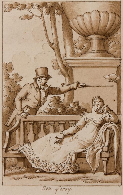 LEROY Denis-Sebastian (1770-1832) - The Butterfly Pen, brush and ink.