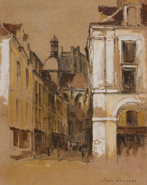 LESSORE Jules (1849-1892) - The rue Notre Dame, Dieppe.
