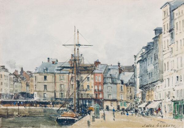LESSORE Jules (1849-1892) - 'Honfleur'; the quayside Watercolour and gouache.