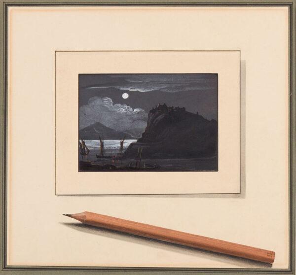 TROMPE L'OEIL subject. 'H'. Circa 1820. - Pencil and Moonlight.