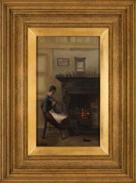 LUDOVICI Albert Snr (1820-1894) - At the fireside.