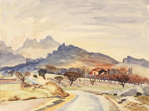 MACKINNON Sine (1901-1996) - 'Soir d'hiver, la route des les Egalieres'(sic), Provence.