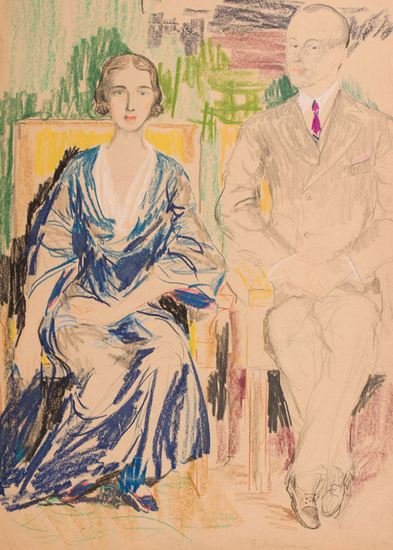 MALIAVIN Philip (Filip Andreyich Malyavin) (1869-1940) - 'Regent of Jugoslavie(sic) et sa femme' Black chalk and wax crayon.