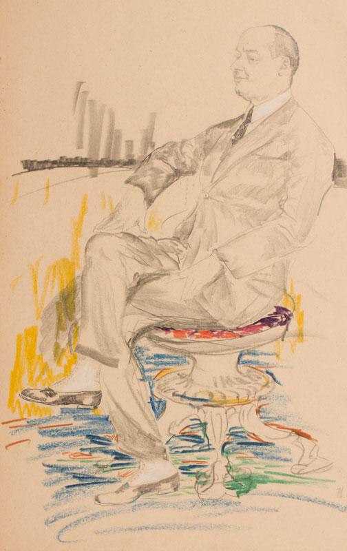 MALIAVIN Philip (Filip Andreyich Malyavin) (1869-1940) - 'Sormiento Terio, Paris vers 1925' Pencil and wax crayon.