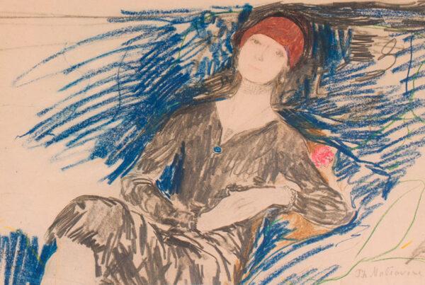 MALIAVIN Philip (Filip Andreyich Malyavin) (1869-1940) - The blue sofa.
