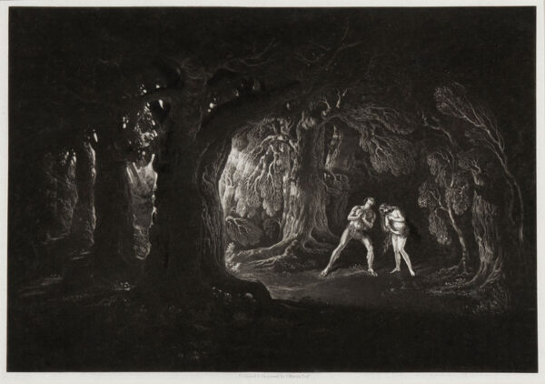 MARTIN John (1789-1854) - 'Adam Hearing the Voice of the Almighty' Mezzotint with etching from Milton's Paradise Lost.