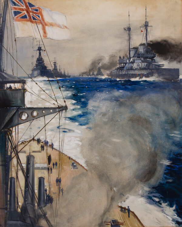 MASON Frank H (1876-1965) - 'Der Tag' – the 'Queen Elizabeth' and the German Surrender, Firth of Forth, 21nd November, 1918.