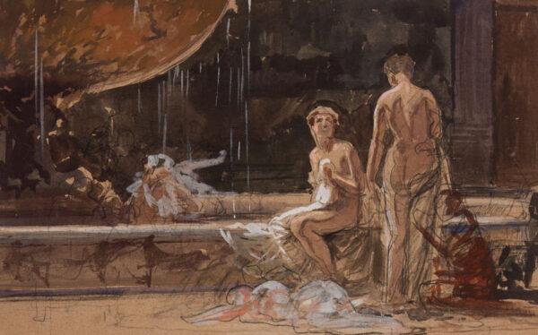 MATANIA Fortunino (1881-1963) - Study for 'The Roman Bath' (oil).