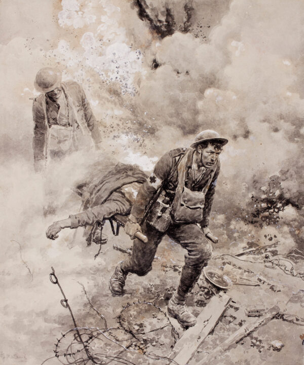 MATANIA Fortunino (1881-1963) - 'Stretcher bearers under fire'.