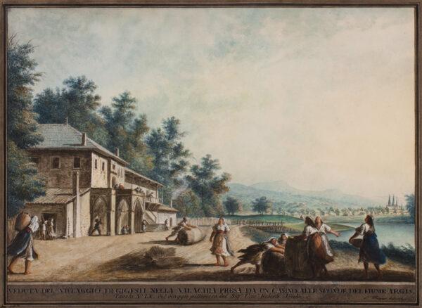 MAYER Luigi ( 1755-1803) - 'Veduta del villaggio di Gigesti nella Valachia presa da un casino alle sponde  del fiume Argis / Tavola No.