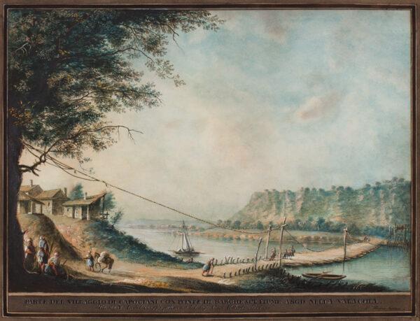 MAYER Luigi (1755-1803) - 'Parte del villaggio Capodociani con ponte de barche sul fiume Argis nella  Valachia / Tavola No.