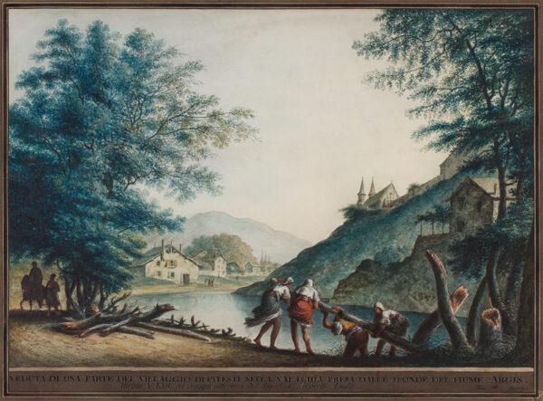 MAYER Luigi (1755-1803) - 'Veduta si una parte del villaggio di Pitesti nella Valachia presa dale sponde  del fiume Argis / Tavola No.