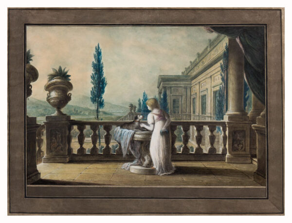 MAYER Luigi (1755-1803) - The terrace of a Neo-Classical Palace, possibly Neapolitan or Sicilian.