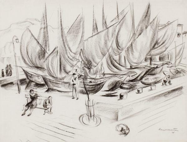 MAYER-MARTON George (1897-1960) - Mediterranean harbour.