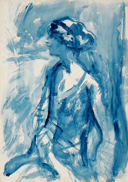 MCEVOY Ambrose A.R.A. N.E.A.C. (1878-1927) - 'Mrs John Carpenter – a portrait study in blue'.