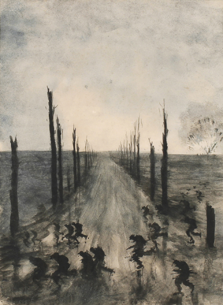 MEARS Gunner F. J. (c.1890-1929) - Soldiers dashing across the (?Messines) Road.