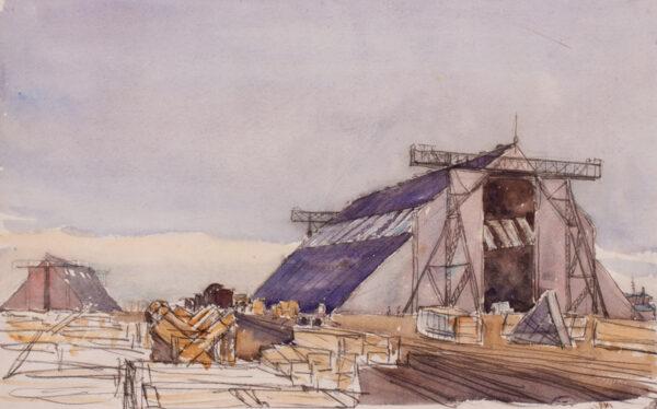 METHUEN Lord (Paul) R.A. (1886-1974) - 'Zeppelin hangers, Namur'.