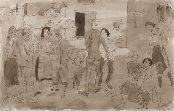 MICHONZE Gregoire (1902-1982) - Farmyard conversation.