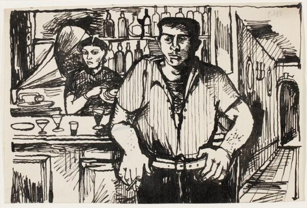 MINTON John R.B.A. L.G. (1917-1957) - Bar in Calvi, Corsica.