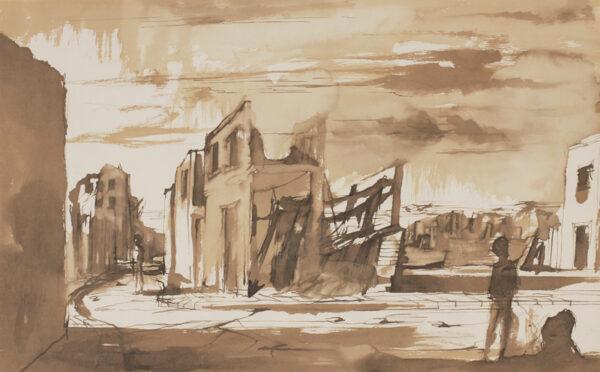MINTON John R.B.A. L.G. (1917-1957) - Blitz scene.