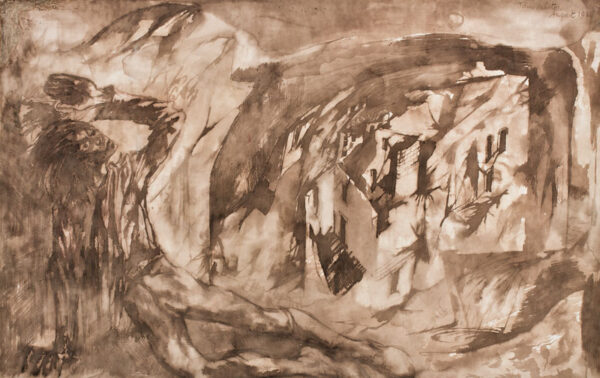 MINTON John R.B.A. L.G. (1917-1957) - Destruction: Figure and Ruins.