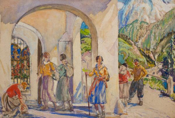 MOIRA Gerald VPRWS. NPS (1867-1959) - Hikers in Bavaria.