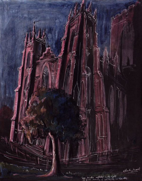 MOORE William Stanley (1914-c.1975) - 'York Blitz/ York Minster reflected in the light / of fires morning of April 29/ (19)42'.