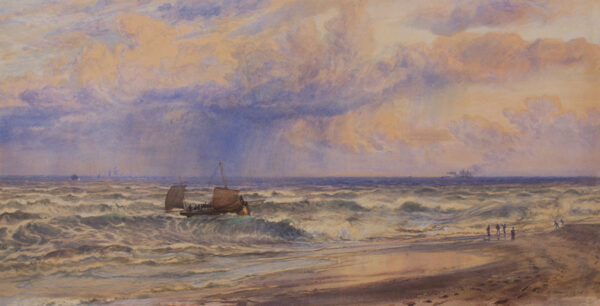 MOORE Henry R.A. (1831-1895) - Fishing smack running ashore.